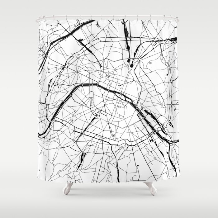 Paris Map Black And White.Paris France Minimal Street Map Black And White Shower Curtain By