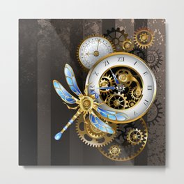Dials with Dragonfly ( Steampunk ) Metal Print
