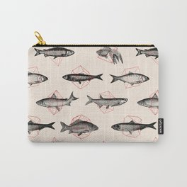 Fishes In Geometrics (Red) Carry-All Pouch