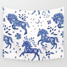Delft Blue Horses Wall Tapestry