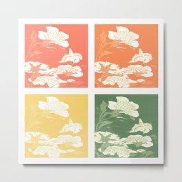 Japanese Birds & Flowers Panel Art earth tones Metal Print