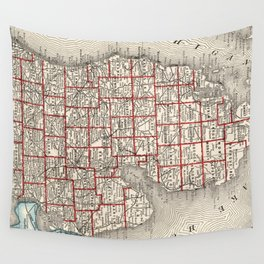 Vintage Map of Michigan (1893) Wall Tapestry