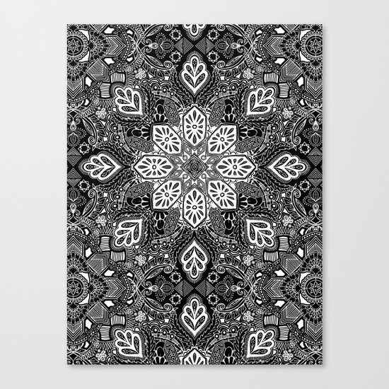 Gypsy Lace in White on Black Canvas Print