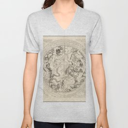 Vintage Astronomical Print - Southern Hemisphere with Horoscope and Astrological Information, 1651 Unisex V-Neck