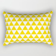 Triangles (Gold/White) Rectangular Pillow