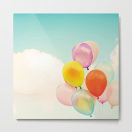 Dreamy Candy Colored Balloons Metal Print