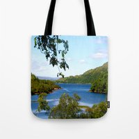 scotland Tote Bags featuring surprising scotland by lou bear