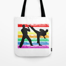 The Fighter's Sparring Tshirt Design Silhouettes sparring light Tote Bag