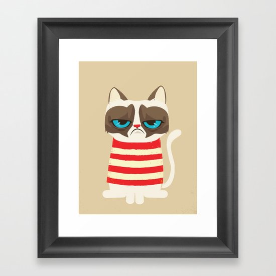 Grumpy meme cat  Framed Art Print