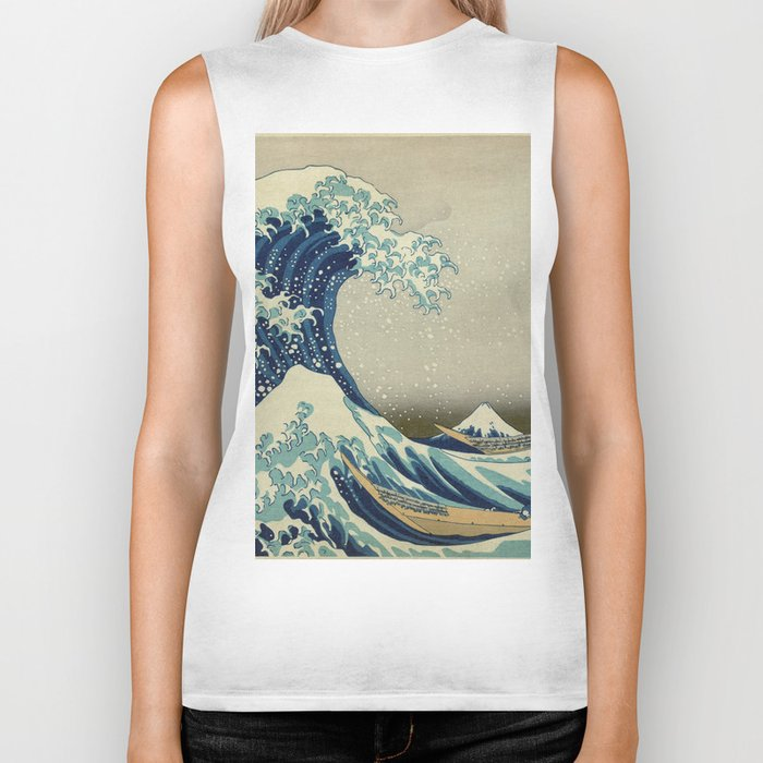 The Classic Japanese Great Wave off Kanagawa Print by Hokusai Biker Tank