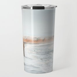 Aerial Black Sand Beach, South Iceland Travel Mug