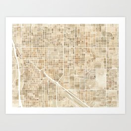 Tucson Arizona watercolor city map Art Print