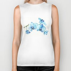 Blue Orchids - Watercolor Biker Tank