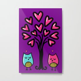 Two birds in love, sketchy doodles Metal Print