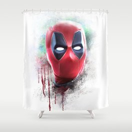 dead pool abstract watercolor portrait painting | Original Fan Art Shower Curtain
