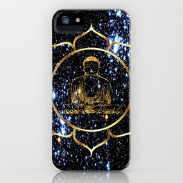 Gold funky Space Buddha iPhone Case