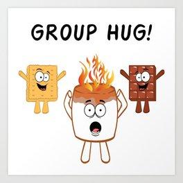 "Nice Fire Camping Shirt For Campers ""Group Hug"" T-shirt Design Marshmallow Chair Bonfire Mountains Art Print"