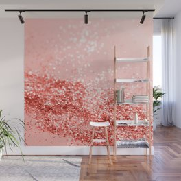 Sparkling Living Coral Lady Glitter #2 #shiny #decor #art #society6 Wall Mural