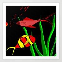 scuba Art Prints featuring Scuba by Happy Fish Gallery