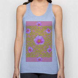 Decorative Yellow Celtic Pattern Pink-Coral  Rose Art Unisex Tank Top
