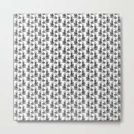 Scarf Pattern with Lady in Silk Metal Print