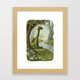 Dinosaur By The Stream Framed Art Print
