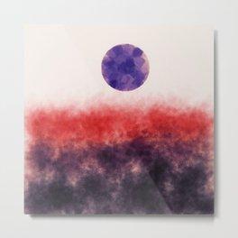 Orange landscape with purple moon Metal Print