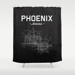Phoenix, Arizona - b/w Shower Curtain