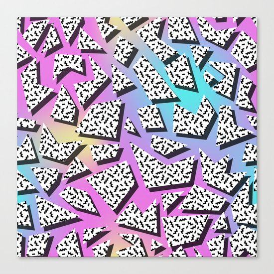 Pattern in memphis style with geometric shapes Canvas Print