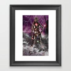 Leather warrior girl Framed Art Print