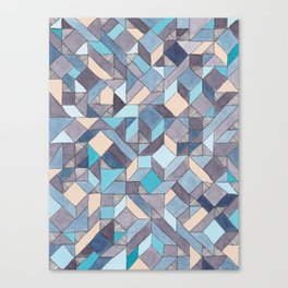 Shifitng Geometric Pattern in Blue Canvas Print