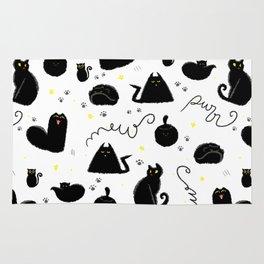 Black Cats Halloween Pattern White Rug