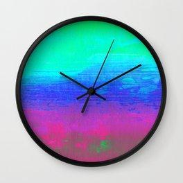 Neon Aqua Abstract Painting Wall Clock