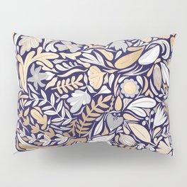 Gold Navy White Floral Leaf Illustration Pattern Pillow Sham
