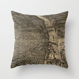 Vintage Pictorial Map of St Louis MO (1876) Throw Pillow