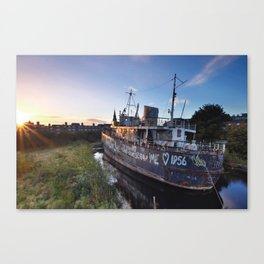 SOS: Save Our Ship, Abandoned Wreck, Grand Canal Dock, Dublin Canvas Print