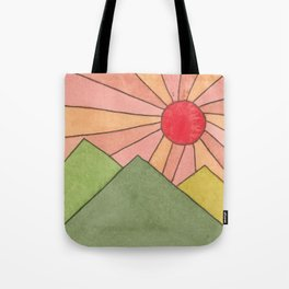 Mountain Sunrise - Watercolor Painting Tote Bag