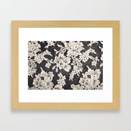 black and white lace- Photograph of vintage lace Framed Art Print