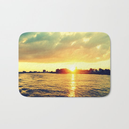 Sunset watEr :Houses Off the River Bath Mat