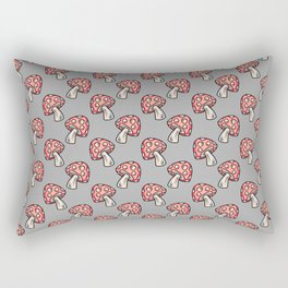 Hand Drawn Forest Toadstools on Gray Rectangular Pillow