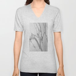 White Marble With Silver-Grey Veins Unisex V-Neck