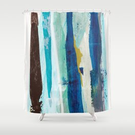 Forlorn Blue Abstract Shower Curtain
