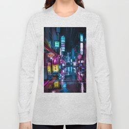 Cyberpunk Aesthetic in Tokyo at Night Vertical Long Sleeve T-shirt