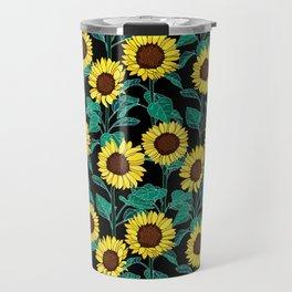 Sunny Sunflowers - Black Travel Mug