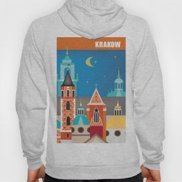 Krakow, Poland - Skyline Illustration by Loose Petals Hoody
