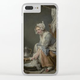 The Laundress by Jean-Baptiste Greuze Clear iPhone Case