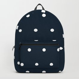 Navy Blue and White Polka Dots Pattern Backpack