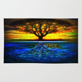 Duality Tree of Life Reflection Moon & Sun Day & Night Painting by CAP Rug