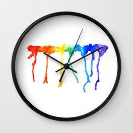 Rainbow Splatters Wall Clock