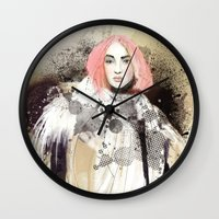 fashion illustration Wall Clocks featuring FASHION ILLUSTRATION 13 by Justyna Kucharska